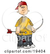 Clipart Illustration Of A Poor And Hungry White Boy Wearing Patched Jeans Under A Yellow Shirt Holding A Bow And Arrow While Shooting At Birds For Food by Dennis Cox