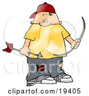 Chubby White Boy Wearing Patched Jeans Holding A Bow And Arrow While Shooting At Birds