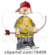 Little White Boy In A Yellow Shirt And Patched Jeans Wearing A Red Hat And Holding An Arrow And Bow