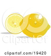 Waxy Whole Ripe Yellow Lemon With Waterdrops Reflecting Light And Resting In Front Of A Juicy Sliced Lemon