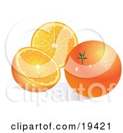 Clipart Illustration Of A Waxy Whole Ripe Orange Fruit With Waterdrops Resting In Front Of A Halved Orange