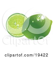 Clipart Illustration Of A Waxy Whole Ripe Green Lime With Waterdrops Reflecting Light And Resting In Front Of A Juicy Sliced Lime