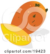 Clipart Illustration Of A Whole And Ripe Orange Mango With Green Speckles And Water Drops Sitting Beside A Slice Of Mango by Vitmary Rodriguez