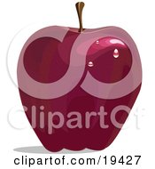Clipart Illustration Of A Ripe And Freshly Waxed Red Delicious Apple With Light Reflecting Off Of The Waterdrops