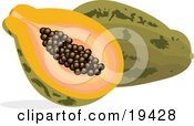 Clipart Illustration Of A Cut And Halved Pice Of Payapa With Seeds In The Center Resting Against A Whole Pawpaw Fruit