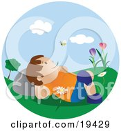 Clipart Illustration Of A Happy Little Boy Lying In Flowers In The Grass In A Park Chewing On Grass And Watching A Bee Fly Past On A Pretty Spring Day by Vitmary Rodriguez