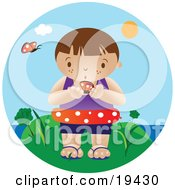 Clipart Illustration Of A Curious Little Boy Wearing An Inner Tube And Holding A Butterfly While Standing Near The Beach On A Hot Summer Day by Vitmary Rodriguez