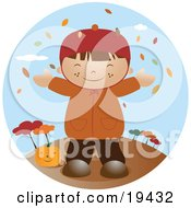 Clipart Illustration Of A Happy Little Boy Wearing A Coat Smiling And Holding His Arms Out While Autumn Leaves Fall Down From The Trees And Standing By A Pumpkin On A Breezy Fall Day by Vitmary Rodriguez