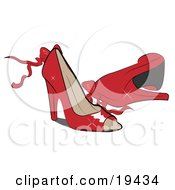 Clipart Illustration Of A Pair Of Feminine Shiny Red Open Toe High Heeled Shoes With Bows And Ribbons by Vitmary Rodriguez #COLLC19434-0040