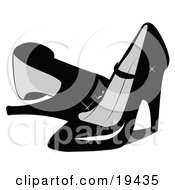 Clipart Illustration Of A Pair Of Feminine Shiny Black Closed Toe High Heeled Shoes