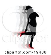 Clipart Illustration Of A Sexy Silhouetted Woman In A Dress And Hat Looking Back At Her Red High Heel Shoes by Vitmary Rodriguez