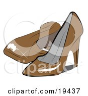 Clipart Illustration Of A Pair Of Feminine Shiny Orange Closed Toe High Heeled Shoes In A Ladies Closet