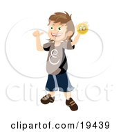 Clipart Illustration Of A Proud School Boy Holding Up And Showing Off His First Place Ribbon After Winning A Contest