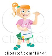 Poster, Art Print Of Happy And Proud Bright School Girl Holding A Certificate Of Excellence From Her Teacher