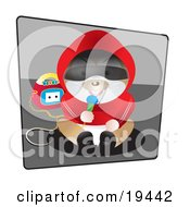 Clipart Illustration Of A Silly Humanlike Hamster In Clothes Sitting And Singing Into A Microphone With A Boombox by Vitmary Rodriguez