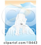 Clipart Illustration Of A Shaggy And Wet White Polar Bear With Blue Eyes Standing On An Iceberg After Swimming In The Arctic Waters by Vitmary Rodriguez