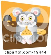 Cute Chubby Mouse Nibbling On A Triangle Slice Of Swiss Cheese Inside His Mouse Hole