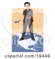 Successful Businessman Standing On Top Of The North American Continent On A Globe While A Plane Flies In The Background