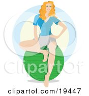 Clipart Illustration Of A Beautiful Blond Yoga Instructor Seated On Top Of A Green Exercise Ball And Waiting For Gym Members To Enter The Fitness Room by Vitmary Rodriguez