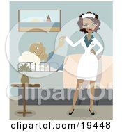 Clipart Illustration Of A Sexy Ethnic Nurse Lady In Uniform Standing Beside A Pleased Geriatric Senior Man That Is Lying In A Bed And Checking The Young Lady Out In A Retirement Home