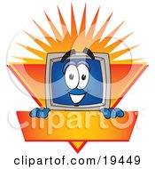 Clipart Picture Of A Desktop Computer Mascot Cartoon Character Logo Showing The Monitor Smiling Over An Orange And Yellow Banner Against A Sunburst by Toons4Biz