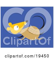 Clipart Illustration Of A Scared Little Brown And Yellow Mouse Running For Its Life