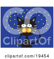 Clipart Illustration Of A Black Cat With Green Eyes And Gray Stripes Pointin Up At A Starry Night Sky by Venki Art