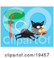 Clipart Illustration Of A Hungry Alley Cat Running Past A Tree And Carrying A Fish In His Mouth by Venki Art