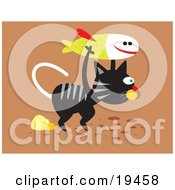 Clipart Illustration Of A Really Hungry Black And Gray Stray Cat Carrying A Fish For Food by Venki Art