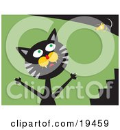 Clipart Illustration Of A Frustrated Black And Gray Cat Trying To Catch A Mouse Thats Teasing Him And Laughing On Top Of A Bush