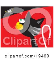 Clipart Illustration Of A Silly Mouse Teasing A Hungry Black And Gray Cat by Venki Art