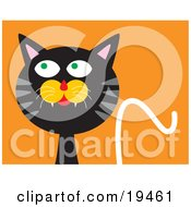 Clipart Illustration Of A Mischievous Black Cat With Gray Stripes Looking Upwards And To The Side While Thinking Of Getting Into Trouble