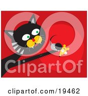 Clipart Illustration Of A Black And Gray Cat With Fast Reflexes Reaching Out And Grasping A Scared Mouse In His Paw by Venki Art