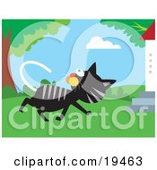 Clipart Illustration Of A Black And Gray Cat Walking Past A Tree And Turning Its Head To Watch Birds In The Branches