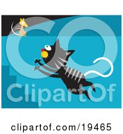 Poster, Art Print Of Black Cat With Gray Stripes Leaping Up A Flight Of Stairs Towards A Mouse On A Wall