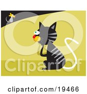 Clipart Illustration Of A Black Cat With Gray Stripes Pondering On How To Catch A Fast Little Mouse