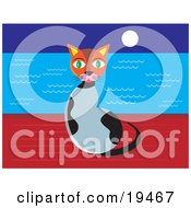Clipart Illustration Of A Cute Green Eyed Calico Cat Sitting On A Wall At Night With The Moon Shining Over The Ocean Waters