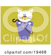 Clipart Illustration Of A Calico Kitten Inside A Bucket With Water On The Floor