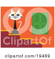 Clipart Illustration Of A Cute Calico Cat Seated On Steps Outside A House Guarding Its Territory