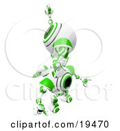 Clipart Illustration Of A Green And White Spycam Robot Climbing On Top Of Another To Reach A Goal Symbolizing Success Achievement Ambition And Teamwork