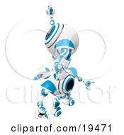 Clipart Illustration Of A Blue And White Spycam Robot Climbing On Top Of Another To Reach A Goal Symbolizing Success Achievement Ambition And Teamwork