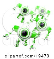 Clipart Illustration Of An Alert Green And White Security Webcam Leading Others In A March by Leo Blanchette