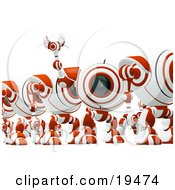 Clipart Illustration Of A Distracted Red And White Soldier Spycam Standing In Line And Waving by Leo Blanchette