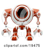 Clipart Illustration Of A Watching Red And White Spybot Standing And Facing Front Alert For Trouble by Leo Blanchette