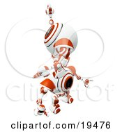 Poster, Art Print Of Red And White Spycam Robot Climbing On Top Of Another To Reach A Goal Symbolizing Success Achievement Ambition And Teamwork