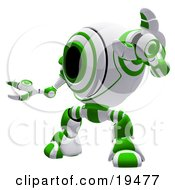 Clipart Illustration Of A Green And White Security Webcam Robot Standing In A Defensive Pose Symbolizing Defense Protection And Security by Leo Blanchette
