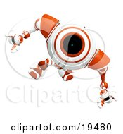 Poster, Art Print Of Wondering Red And White Security Webcam Robot Looking Upwards