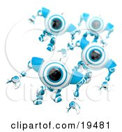 Clipart Illustration Of A Blue And White Security Webcam Leading Others In A March by Leo Blanchette