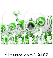 Clipart Illustration Of A Distracted Green And White Soldier Spycam Standing In Line And Waving