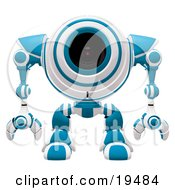 Clipart Illustration Of A Blue And White Spybot Standing And Facing Front Alert And Watching Out For Trouble by Leo Blanchette